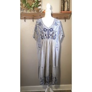 NWT Johnny Was Cotton Embroidered Dress Gray blue